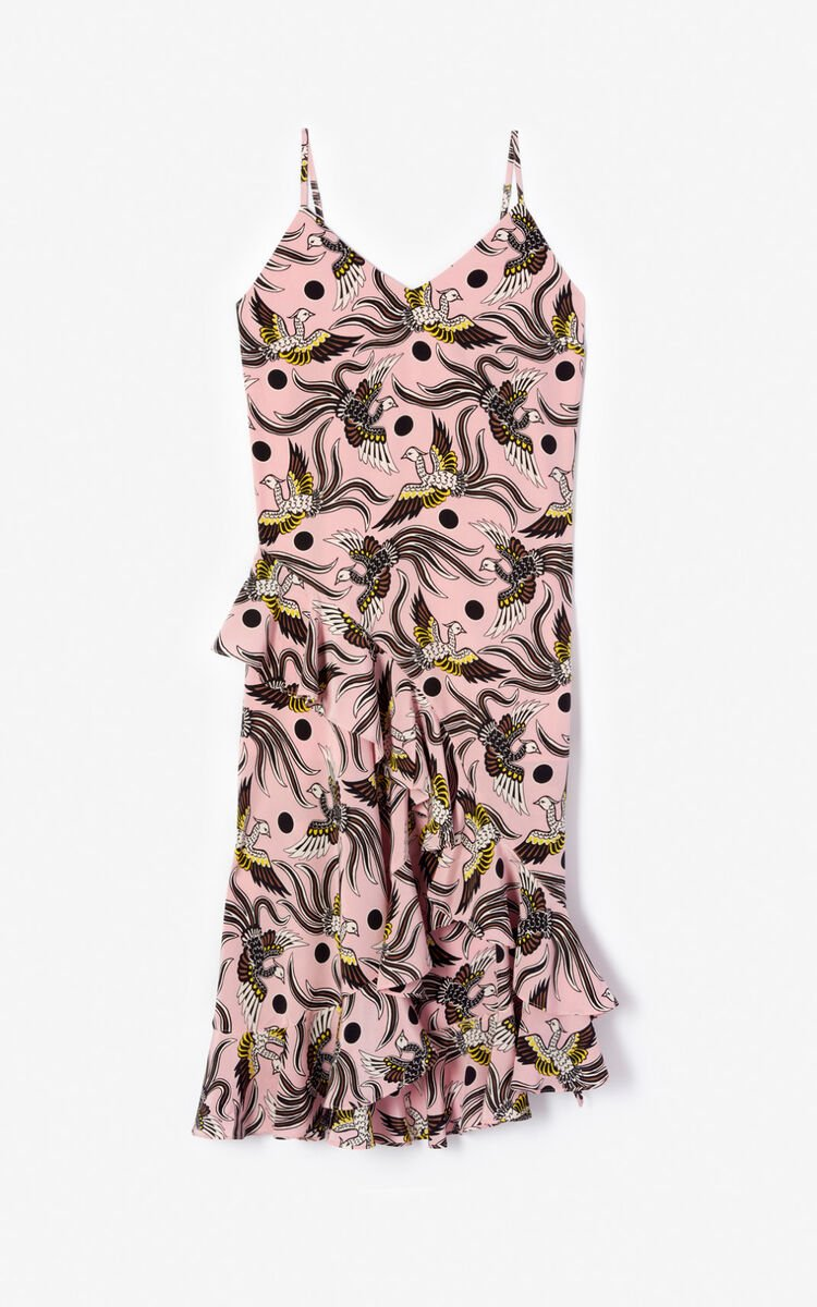 PASTEL PINK Ruffled silk 'Flying Phoenix' dress for women KENZO