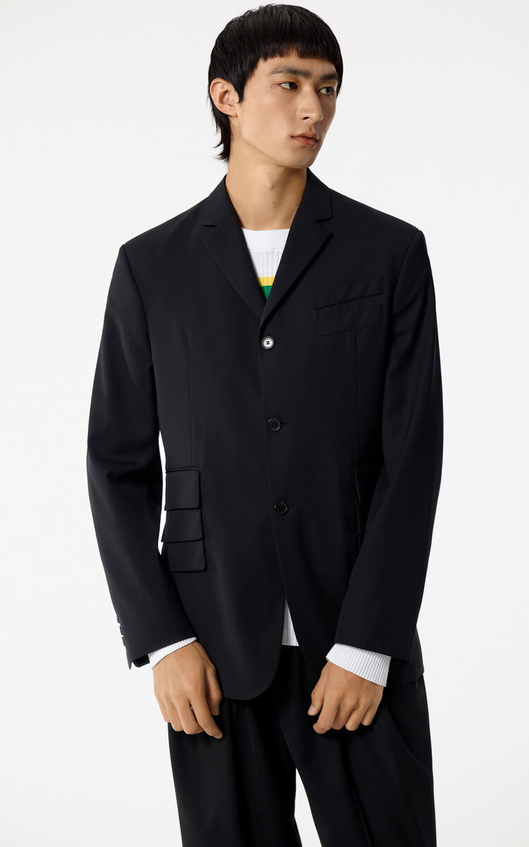 BLACK Wool jacket for men KENZO