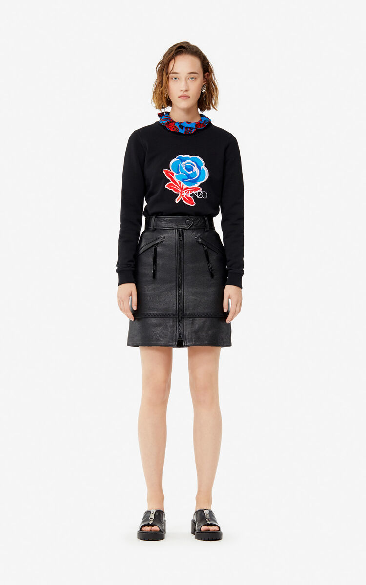 BLACK 'Rose' embroidered logo sweatshirt for women KENZO