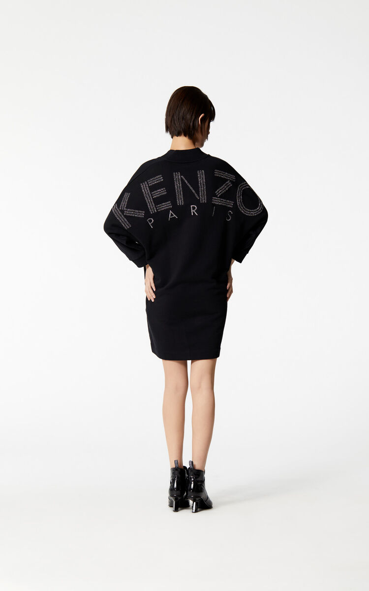 BLACK KENZO Logo glitter sweatshirt dress for women