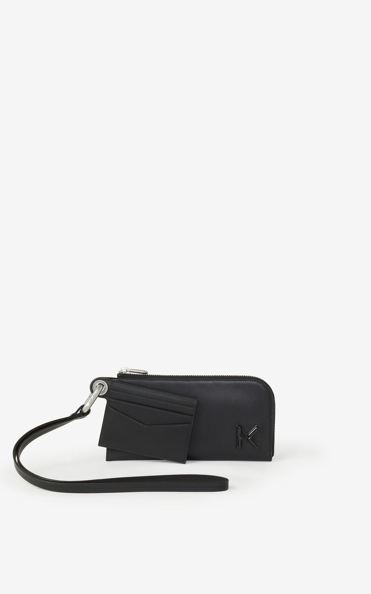 BLACK KENZO K zipped leather wallet with wrist strap for women