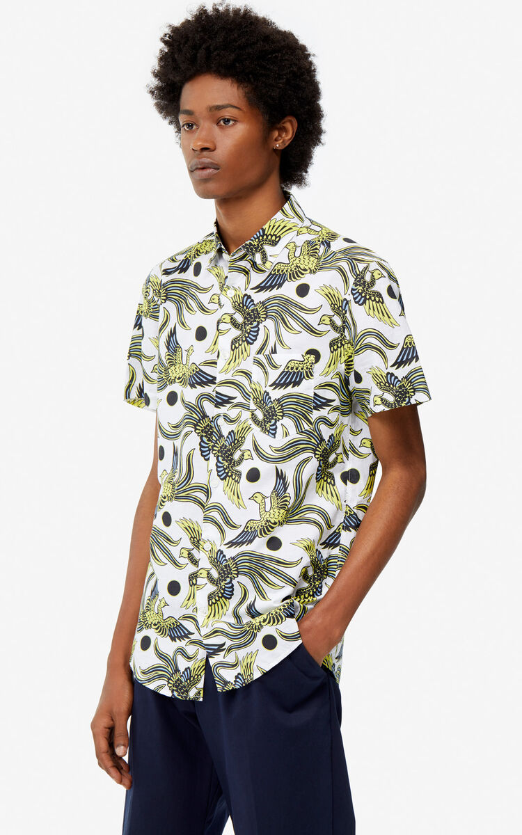 WHITE 'Flying Phoenix' slim-fit shirt for men KENZO