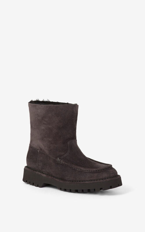 STONE GREY K-Mount suede ankle boots for women KENZO