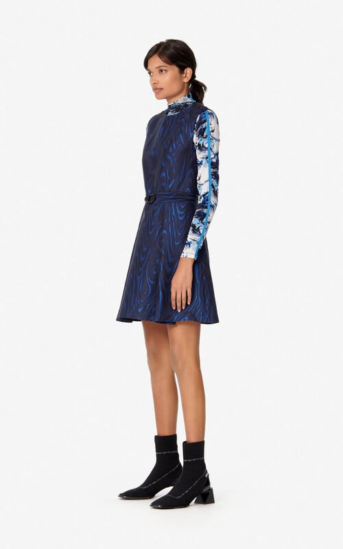 NAVY BLUE 'Moire Tiger' dress for women KENZO