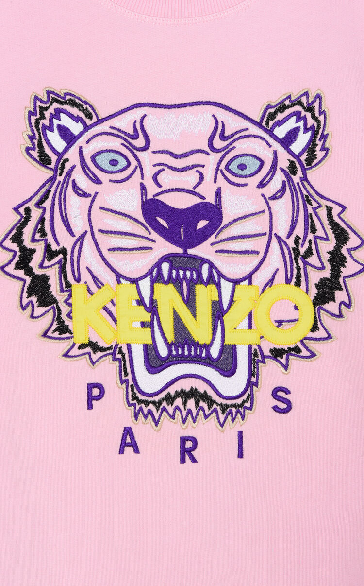 FLAMINGO PINK Embroidered Tiger sweatshirt for women KENZO
