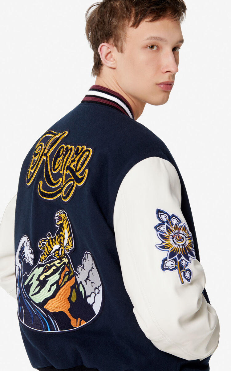 NAVY BLUE Varsity 'Tiger mountain' jacket for women KENZO