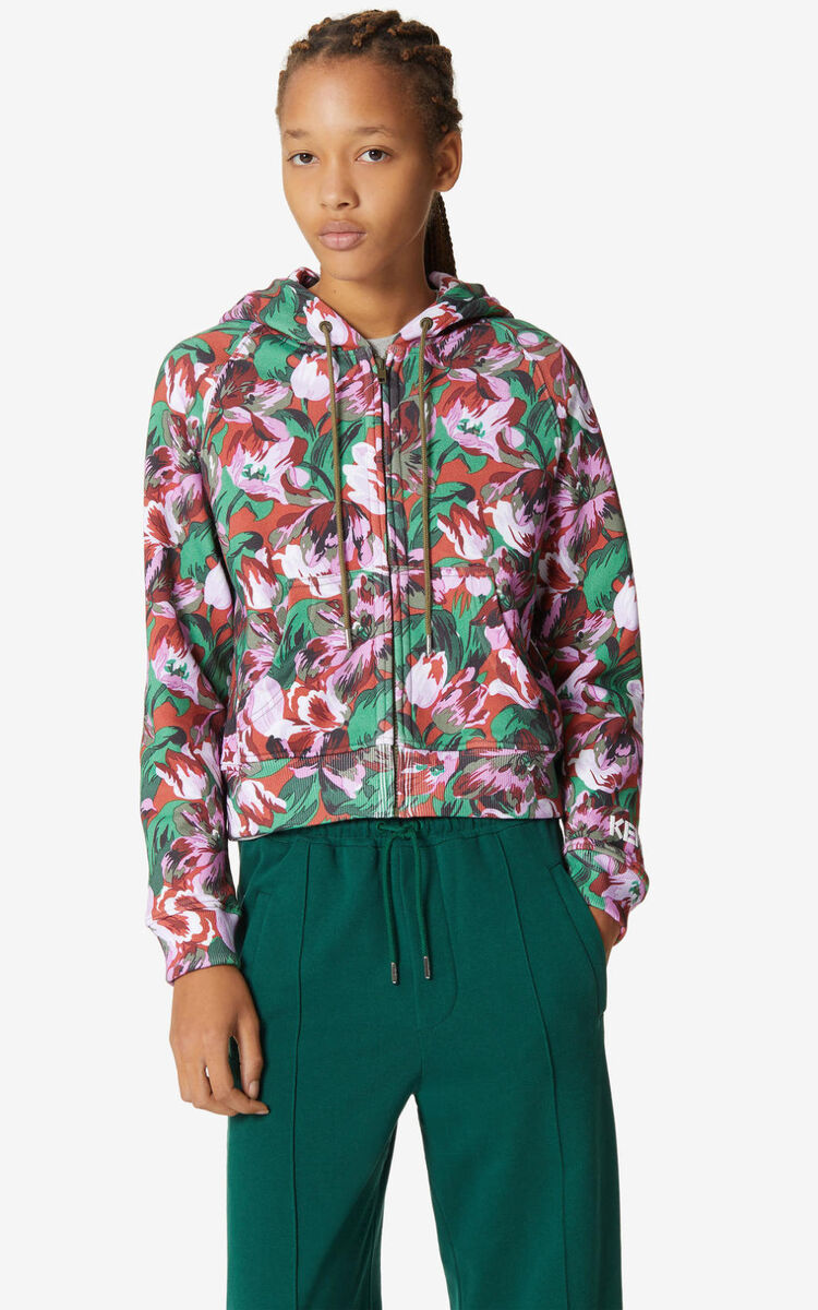 MEDIUM RED 'Gardenias' sweatshirt with zip for women KENZO