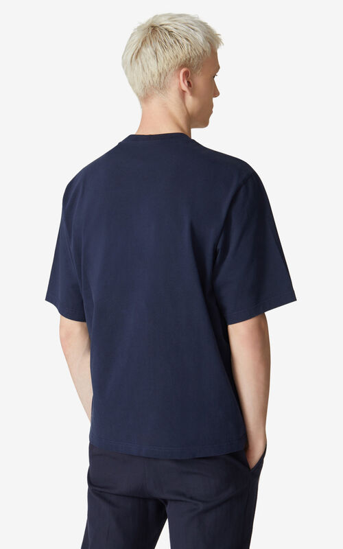 NAVY BLUE Oversized embroidered Tiger shirt for men KENZO