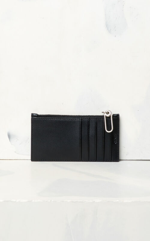 BLACK KENZO Logo leather card holder for unisex