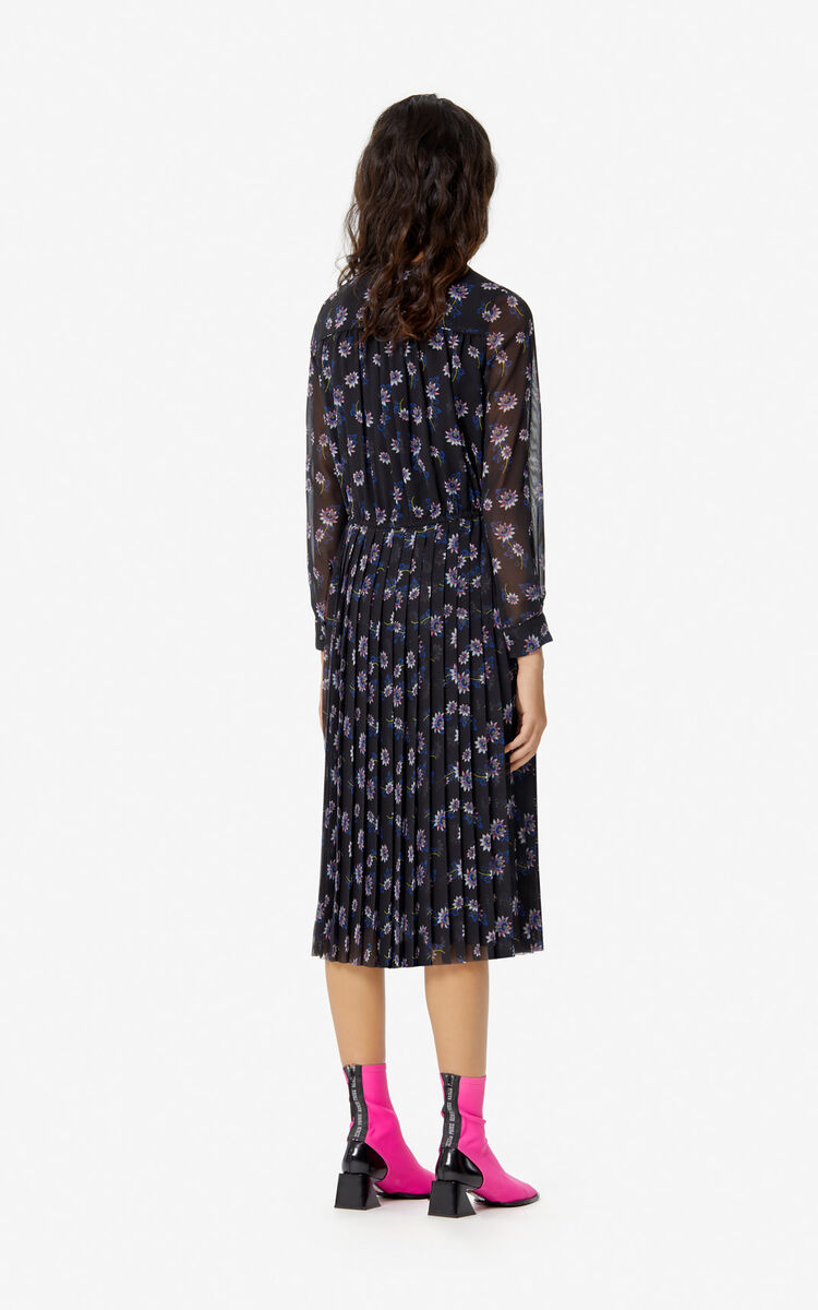 BLACK Long 'Passion Flower' dress for women KENZO
