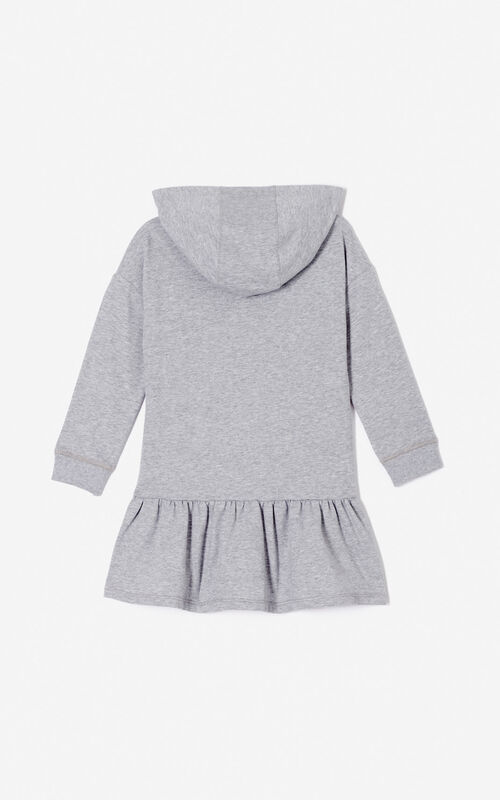 MIDDLE GREY 'Frozen' hooded dress for women KENZO