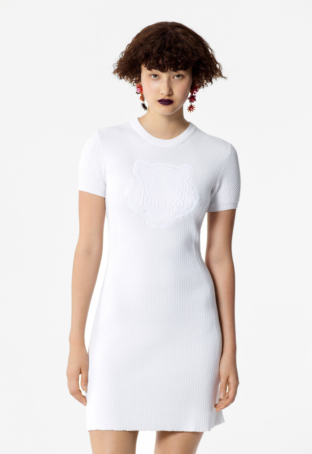 WHITE Knitted Tiger dress for women KENZO