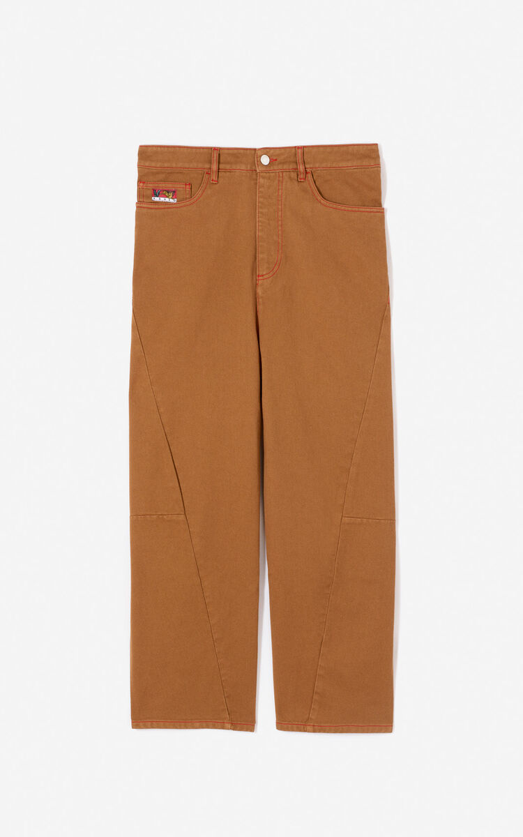DARK CAMEL Twisted jeans for men KENZO