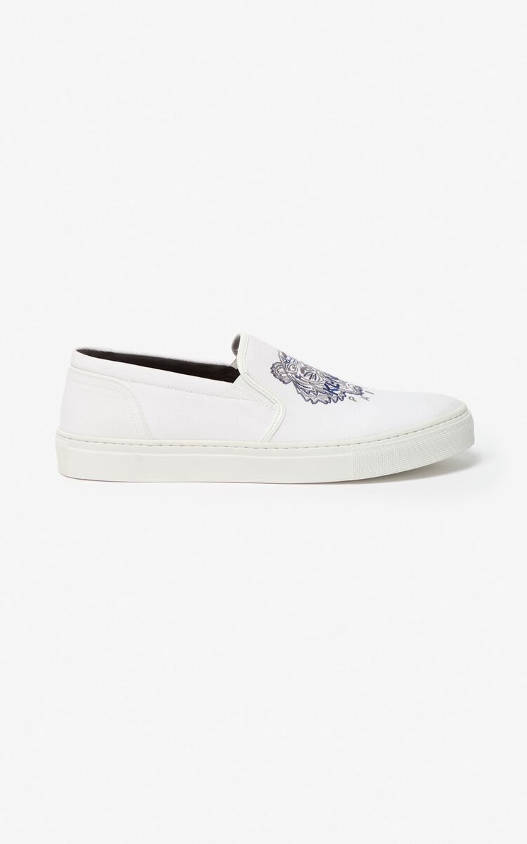 WHITE K-Skate Tiger slip-ons for men KENZO