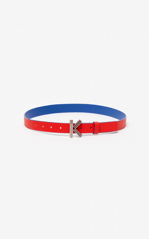 MEDIUM RED Fine two-tone K-Bag belt KENZO