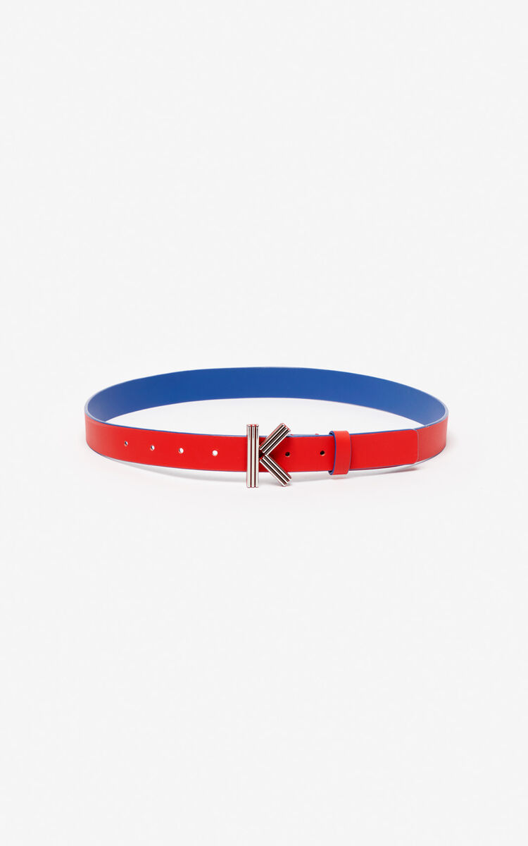 MEDIUM RED Fine two-tone K-Bag belt for women KENZO