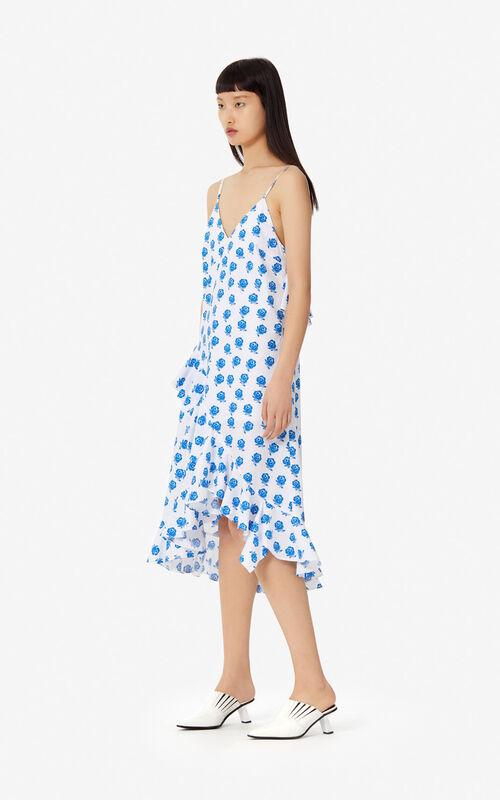 WHITE 'Ruffled 'Roses' dress for women KENZO