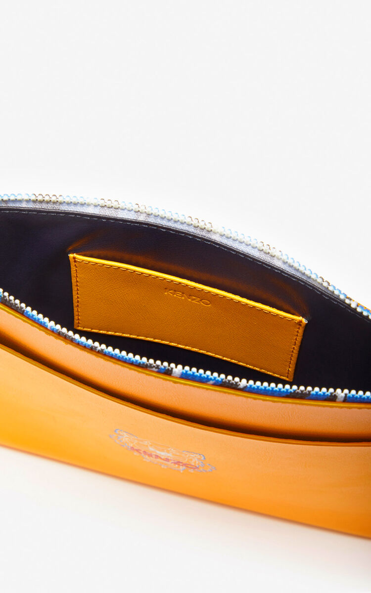 MARIGOLD 'Tiny Tiger' A4 leather clutch for unisex KENZO