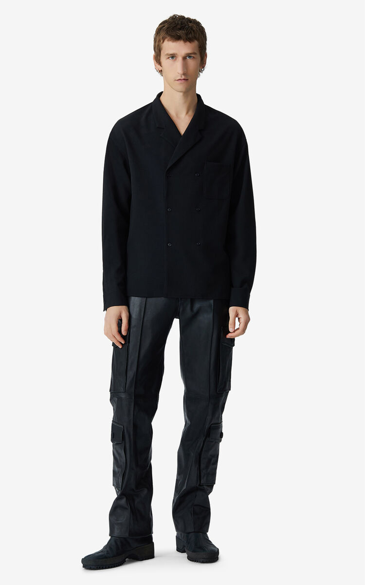 BLACK Double breasted wool shirt for men KENZO