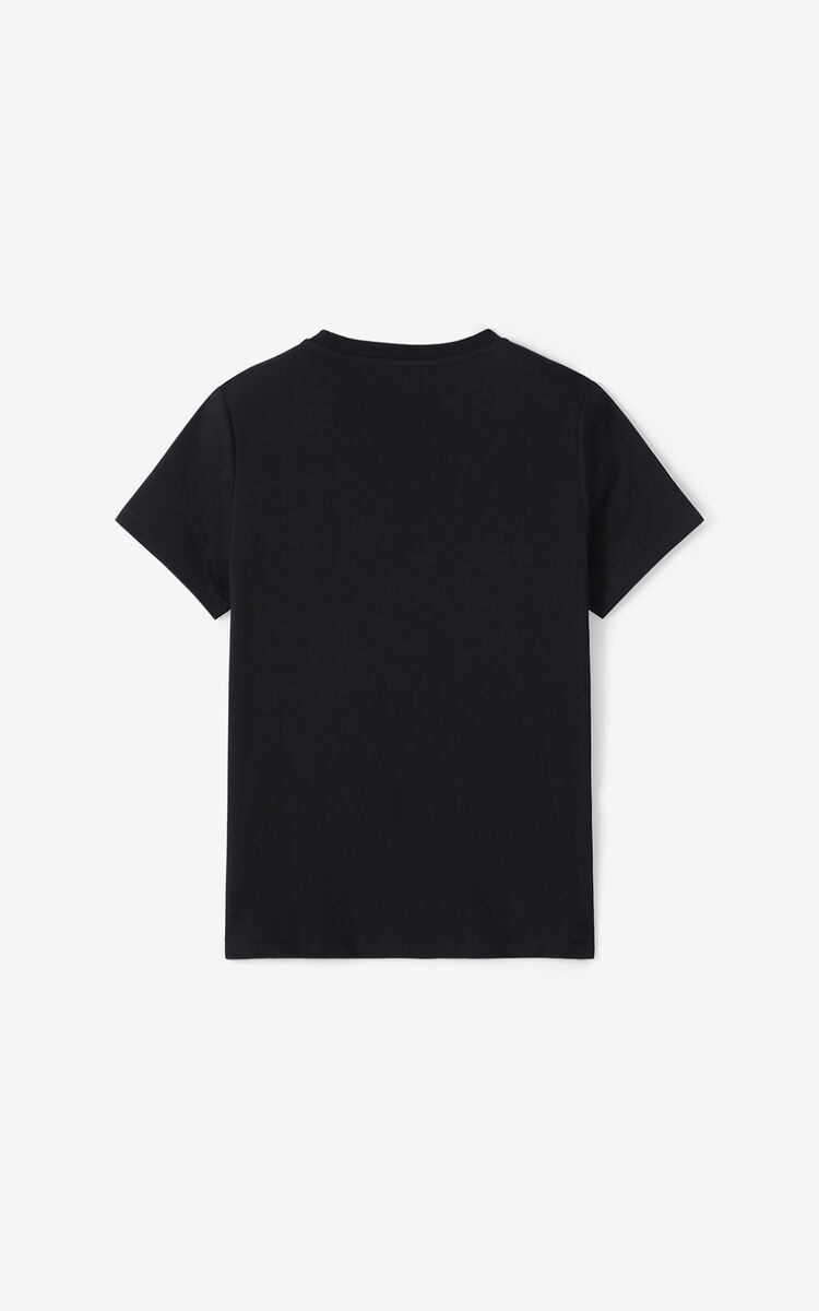BLACK Tiger Flock T-shirt for women KENZO