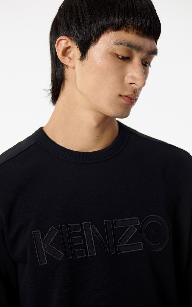 BLACK Jumper with tone-on-tone KENZO Paris logo for women