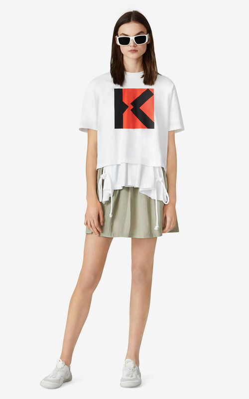 WHITE KENZO Sport 'Blocked K' boxy t-shirt for men