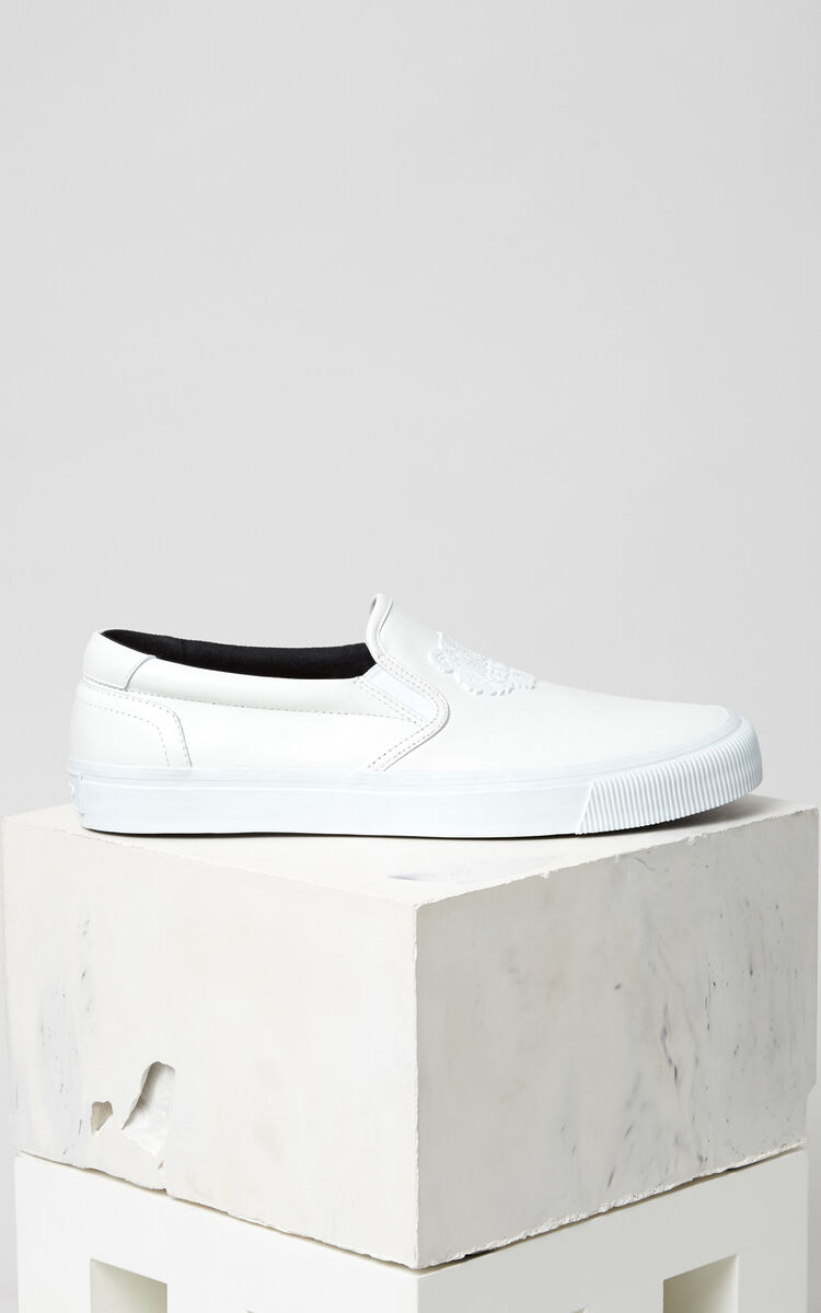 WHITE Leather Tiger Slip On for unisex KENZO