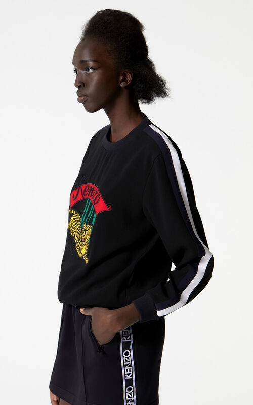 BLACK 'Bamboo Tiger' crepe top for women KENZO