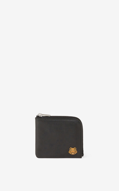 BLACK Tiger Crest small zipped leather wallet  for unisex KENZO