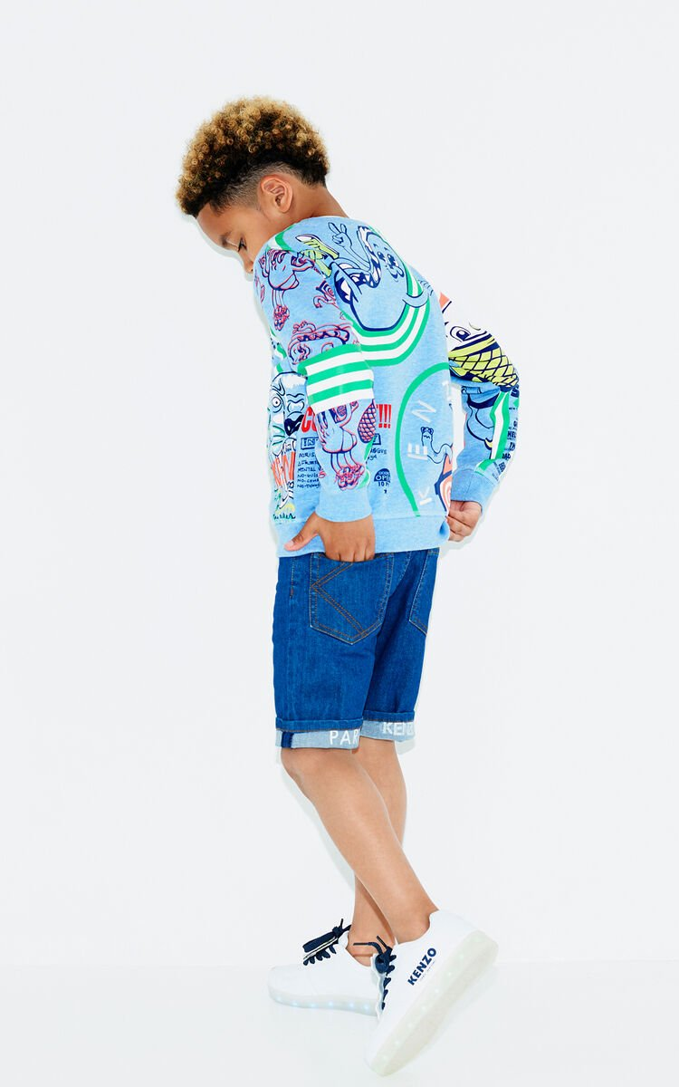 LIGHT BLUE Multi-logo sweatshirt for men KENZO