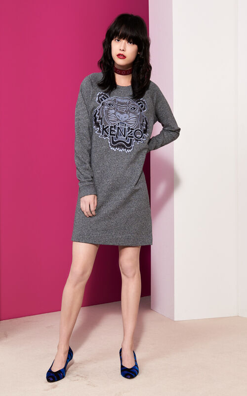 ANTHRACITE Tiger sweater Dress  for women KENZO