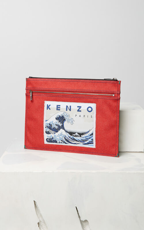 NAVY BLUE Denim 'Bamboo Tiger' clutch for unisex KENZO