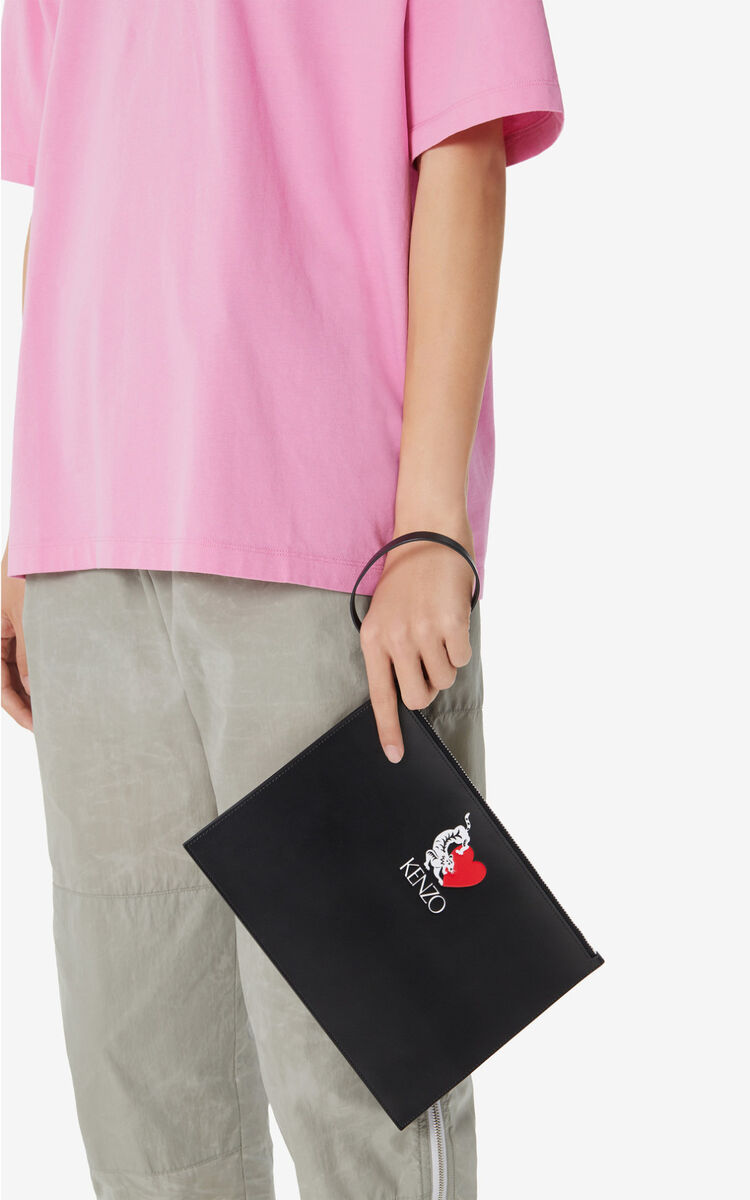 BLACK 'Lucky Tiger' leather clutch for women KENZO
