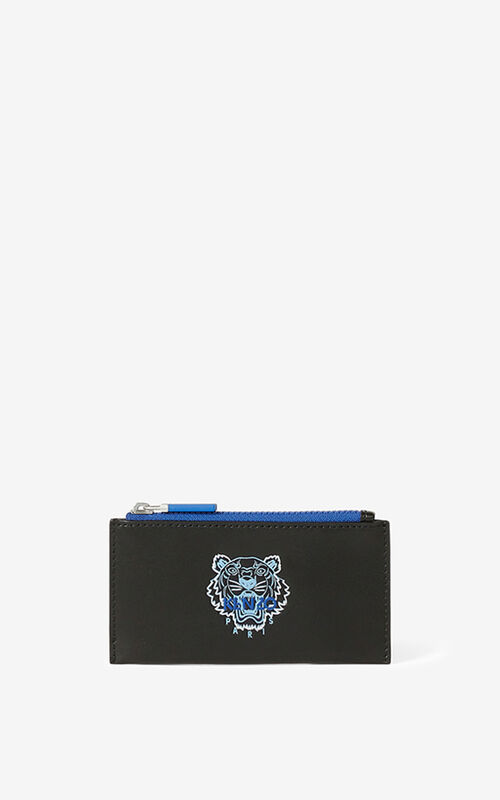 BLACK Ekusson Tiger zipped leather card holder   for unisex KENZO