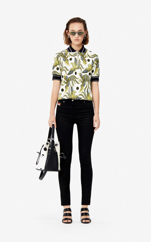 WHITE 'Flying Phoenix' polo shirt for women KENZO