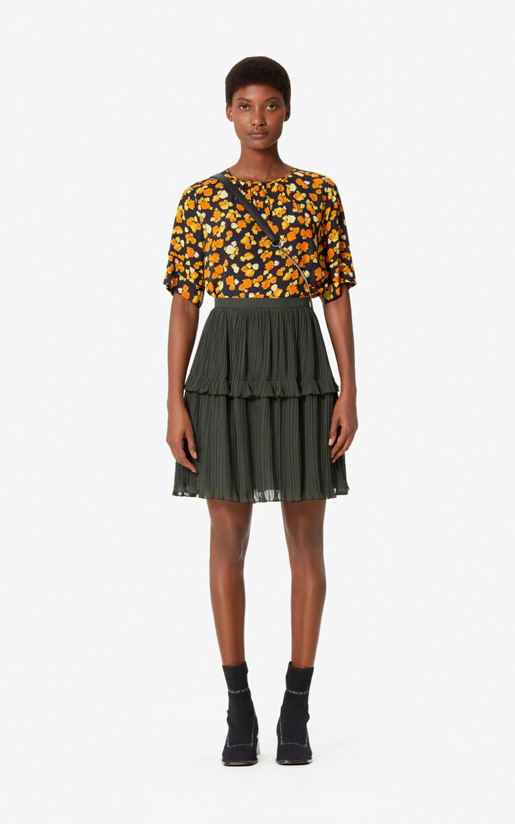 DARK KHAKI Pleated skirt with ruffles for women KENZO