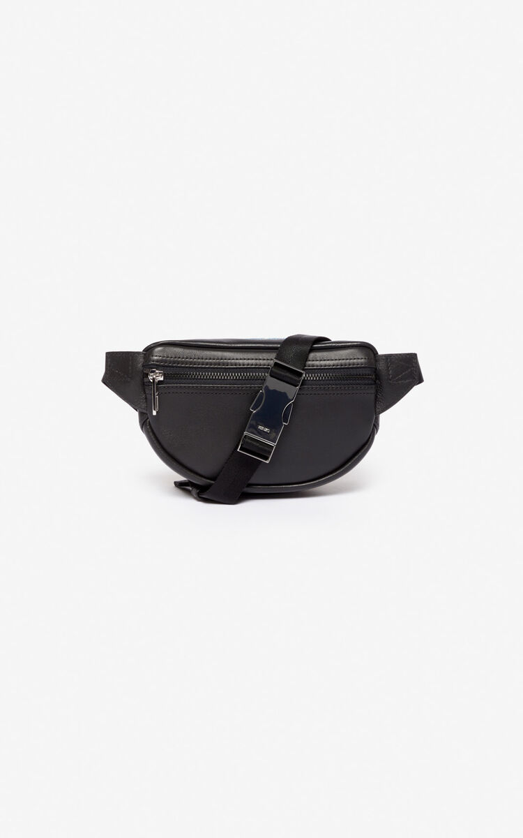 BLACK Mini leather 'Kampus' Tiger belt bag for unisex KENZO