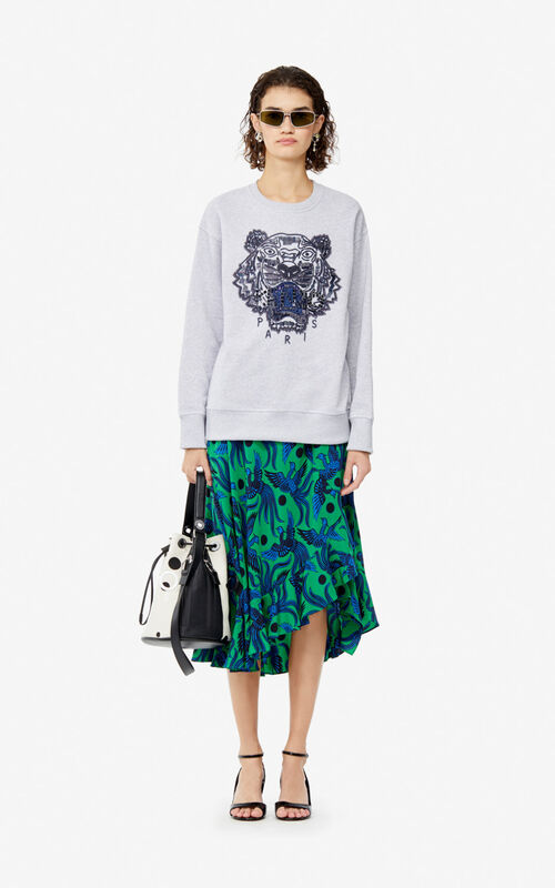 PALE GREY Hand-embroidered Tiger sweatshirt for women KENZO