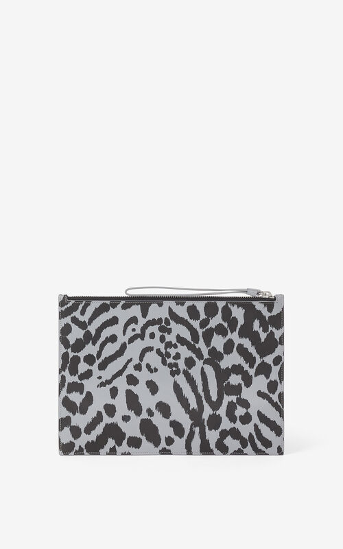 ANTHRACITE Leather clutch KENZO