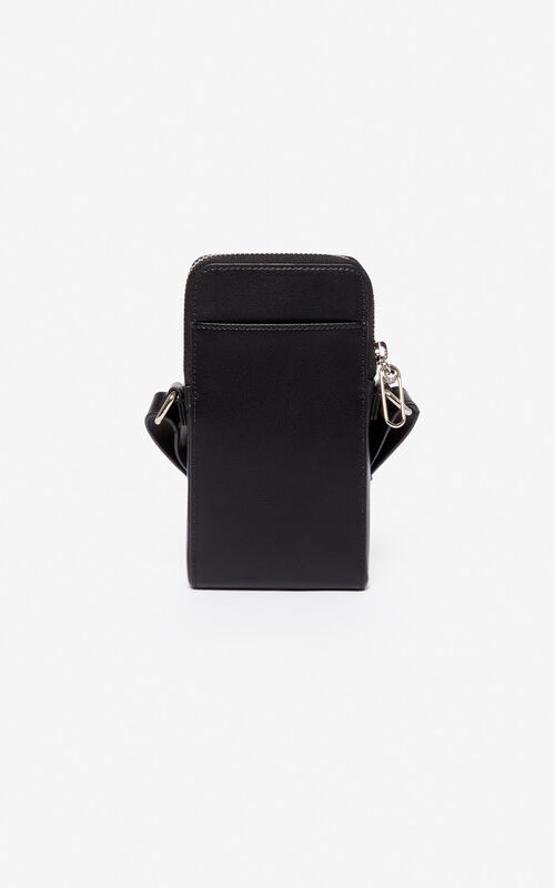 BLACK 'Konstrast' zip fastening phone pocket for unisex KENZO