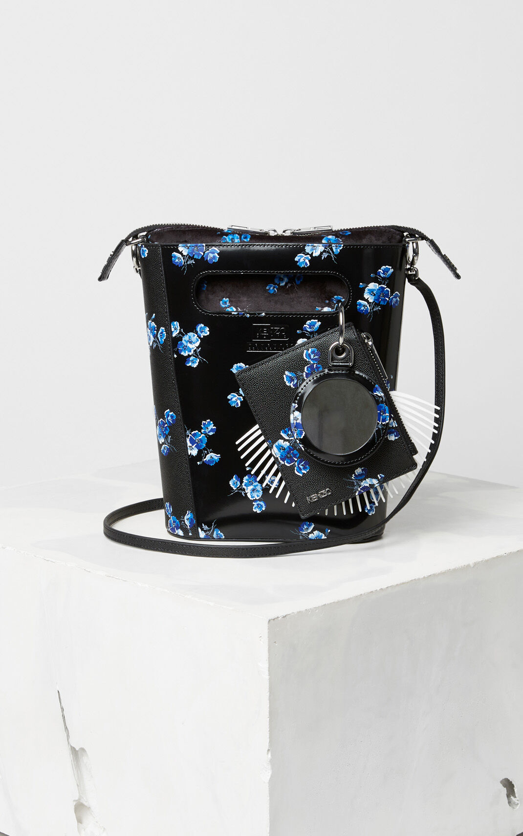 BLACK 'May Flowers' Mini Tote Bag for unisex KENZO