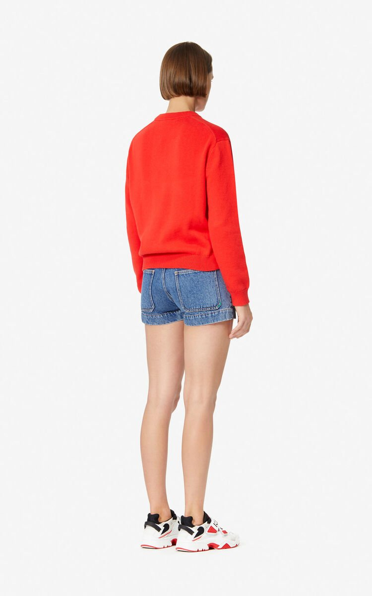 MEDIUM RED 'Bamboo Tiger' jumper for women KENZO