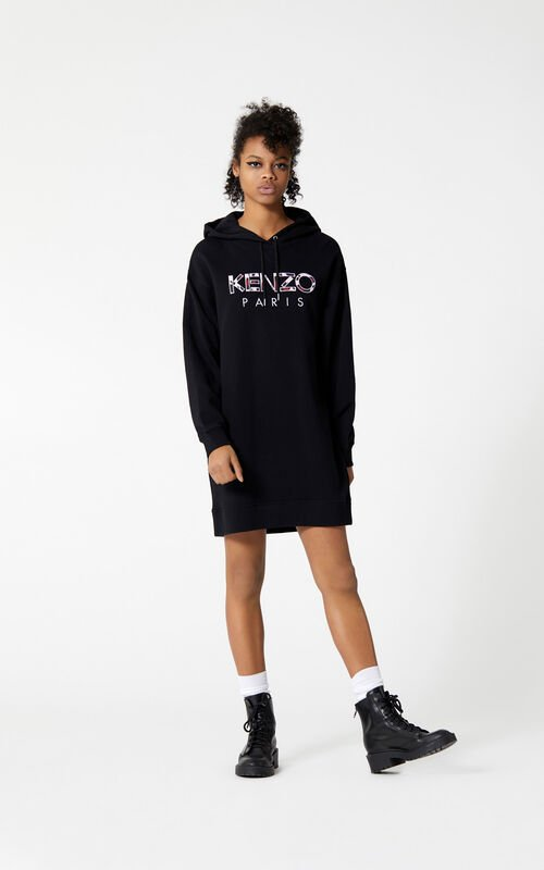 BLACK KENZO Paris sweatshirt dress for women