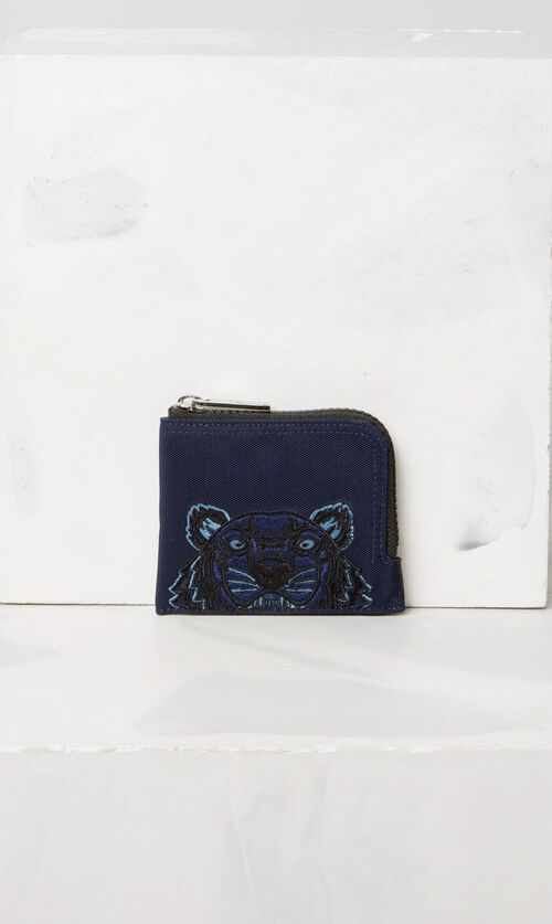 NAVY BLUE Zipped Tiger purse for men KENZO