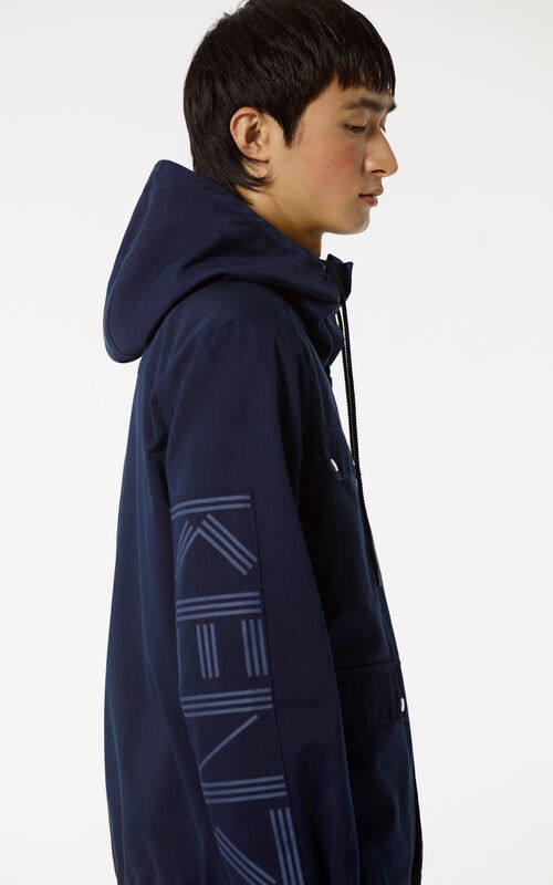 MIDNIGHT BLUE KENZO PARIS hooded jacket for men
