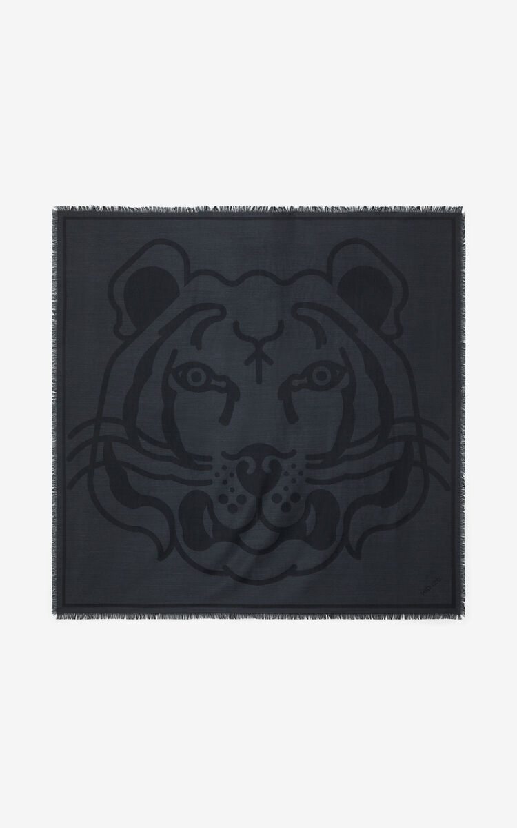 ANTHRACITE K-Tiger wool square for unisex KENZO