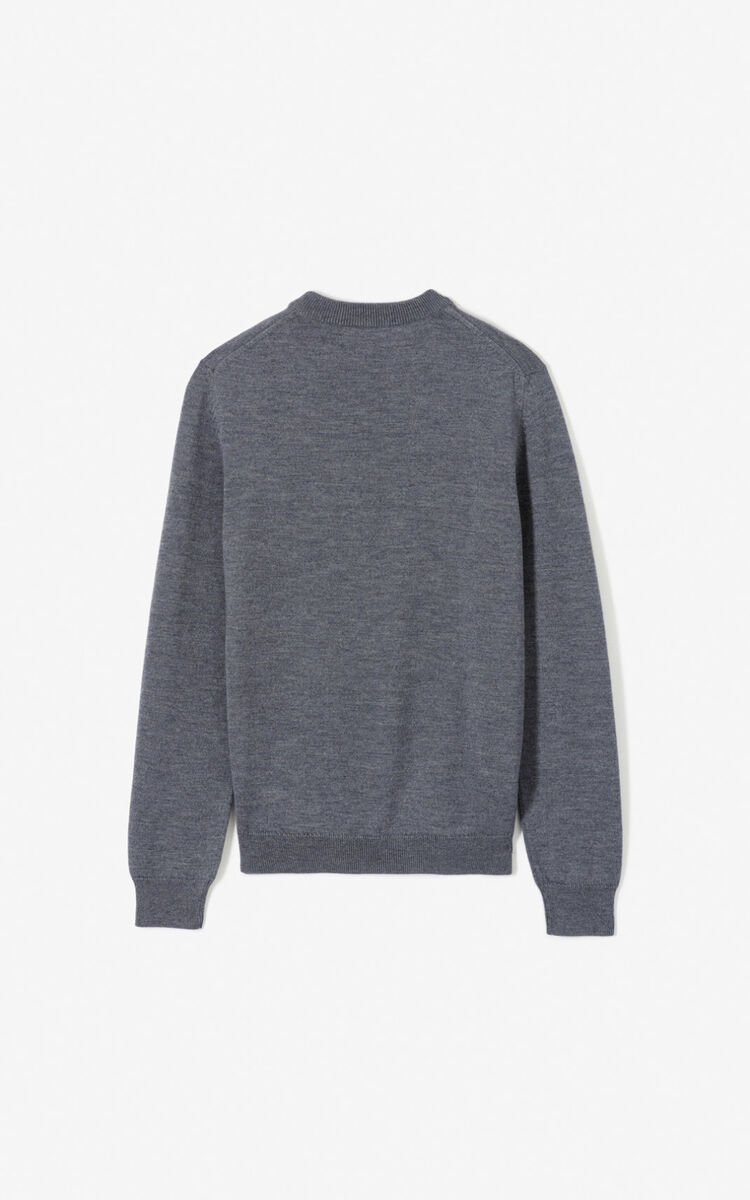 PALE GREY Woollen Tiger jumper for men KENZO