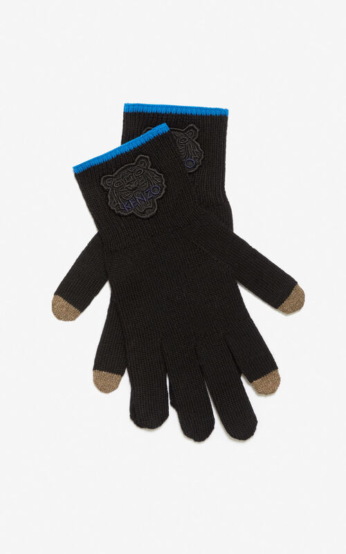 BLACK Two-tone Tiger gloves for unisex KENZO
