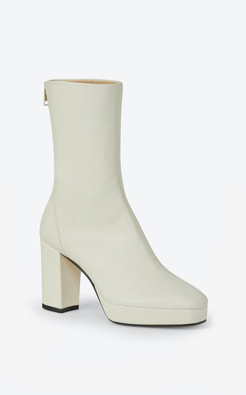 ECRU KENZO GLOVE leather platform ankle boots for women