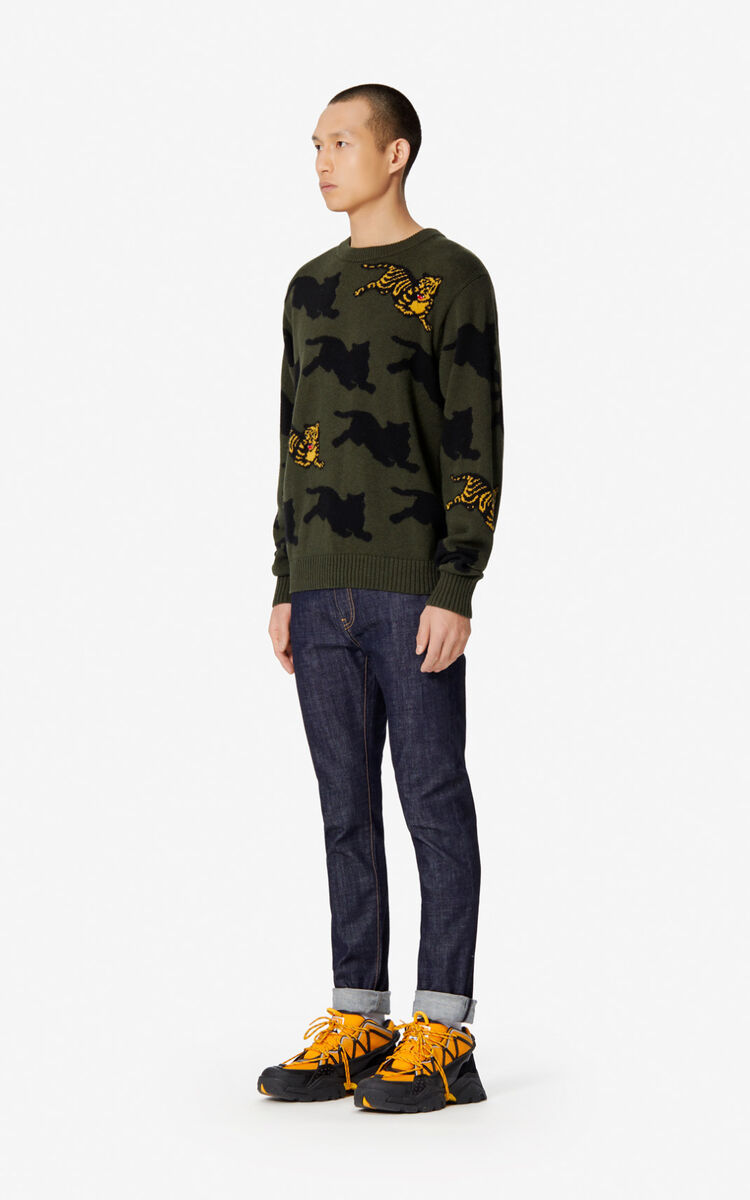 DARK KHAKI 'Jumping Tiger' jumper for men KENZO